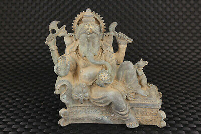 Chinese old bronze hand carver Buddha elephant statue figure table collectable