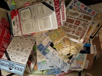 HUGE SCRAPBOOKING LOT~50 MIXED ITEMS~EMBELLISHMENTS~STICKER~JOLEE~STARTER SET