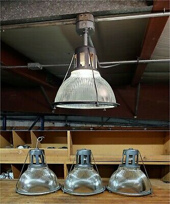 """Vintage Holophane Lobay Industrial Light Fixture - 14"""" Ribbed Glass Factory"""