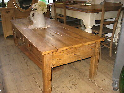 An early 20th Century large Rustic Antique French Pine Coffee Table