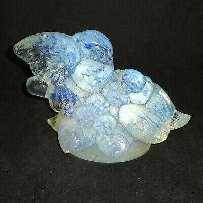 SABINO France, Couple d'oiseaux (love birds) en verre opalescent, H: 9 cm