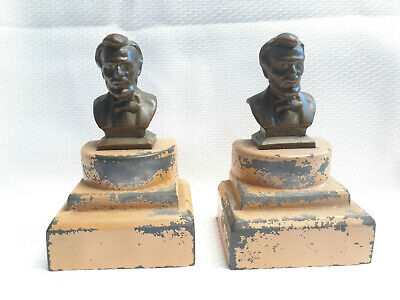 Vtg Cast Metal Bronze Lincoln Bust Set Of Bookends