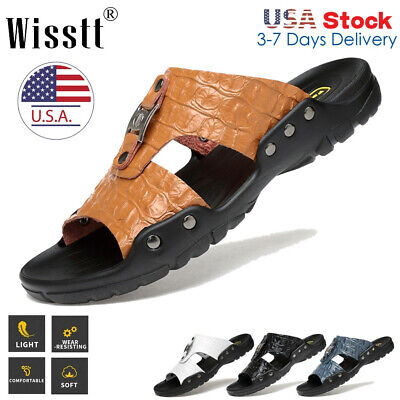 Men's Casual Leather Sandals Shoes Outdoor Anti-slip Slippers Hiking Beach 5-13