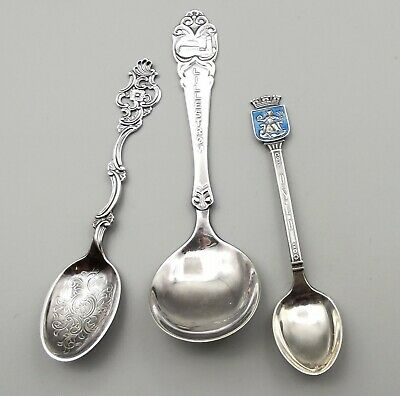 Vtg Norway Silver Collector Spoon Lot Sterling 830s Oslo Souvenir Marthinsen