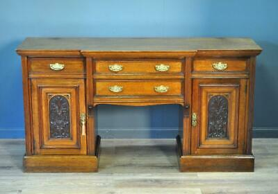 Attractive Large Antique Victorian Maple & Co. Carved Oak Sideboard Cabinet
