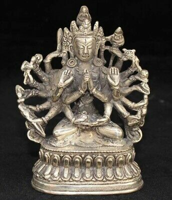 Collectable Auspicious Carved Thousand Hand Kwan-yin Lucky Tibet Silver Statue