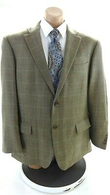 Oscar De La Renta Mens Olive Brown And Tan Plaid Wool Suit Coat Size 46R