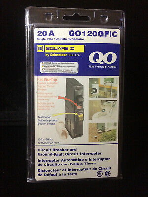 NEW - Square D QO120GFIC 20 amp breaker -Ground Fault Circuit Interrupter 1 Pole