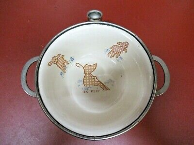 Baby's BO-PEEP food warmer cereal bowl 1940s EXCELLO chrome pottery