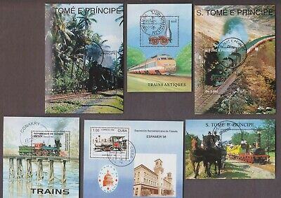 20 All Different  Train Steam Engines  Souvenir Sheets