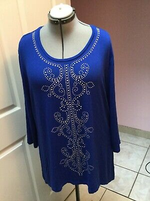 f womens JM COLLECTION blue long sleeve stretch plus size top 2X