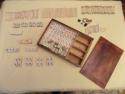 Antique 1920's MAH JONGG Tile Game Bone Bamboo Dovetailed Box