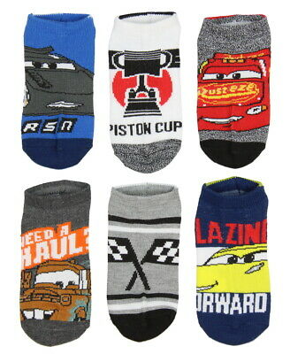 Disney Cars Boys' Kids Character And Sayings Ankle No Show Socks 6 Pairs (6-8)