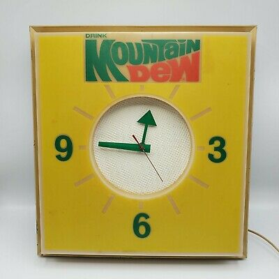 """Vintage Dualite Drink Mountain Dew Wall Clock Advertising Sign 15 x 16 x4"""""""