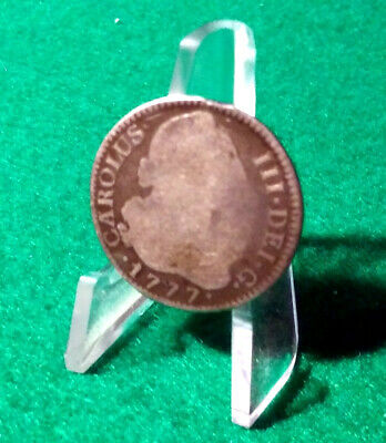 1777 SPAIN Silver 2 Real Carolus III Genuine Reales Old Antique Spanish Two Bits