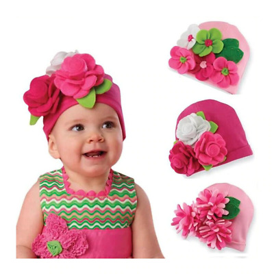 Baby Hats Girls Soft Cotton Plain Colored Hand Made Flowers Design Kids Bonnet