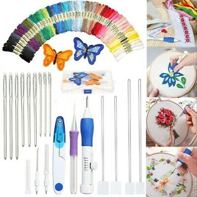 DIY Embroidery Pen Magic Knitting Sewing Tool Punch Needle + 50 Threads Set Kit