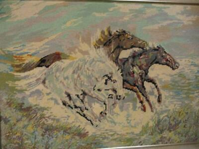 Large Vintage Framed Brumbies Wool Needlepoint TAPESTRY 3 Wild Stallion Horses