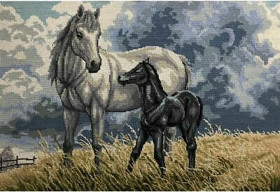 Horses Tapestry Design Printed On 10 Count Antique Canvas & Stranded Cotton Thre