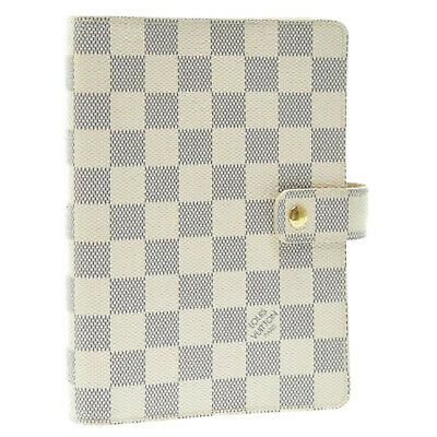 LOUIS VUITTON Damier Azur Agenda MM Day Planner Cover R20707 LV Auth sa903