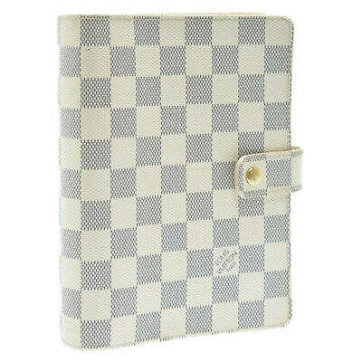 LOUIS VUITTON Damier Azur Agenda MM Day Planner Cover R20707 LV Auth sa902