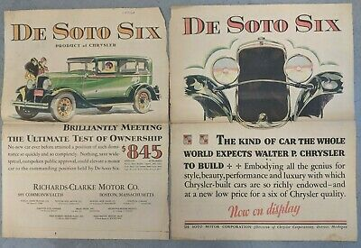 Pair of Full Page Color De Soto Six 1928 Newspaper Ad Advertisements Boston