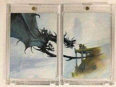 The Hobbit Two Card Smaug Dragon Art Card Signed Mick 2008