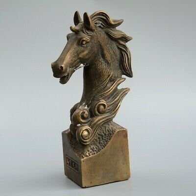 Collect China Old Bronze Hand-Carved Horse Moral Bring Luck Delicate Seal Statue