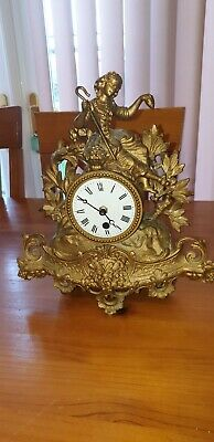 Rare Antique French Gold Gilded Spelter Figural Enamelled Faced Mantle Clock