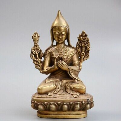 Collectable China Old Bronze Hand-Carved Moral Auspicious Buddhism Decor Statue