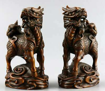 Collectable Antique Boxwood Hand Carve A Pair Exorcism Bring Luck Kylin Statue