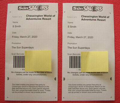 2X Chessington World of Adventures Resort Tickets  Friday 27th March 2020