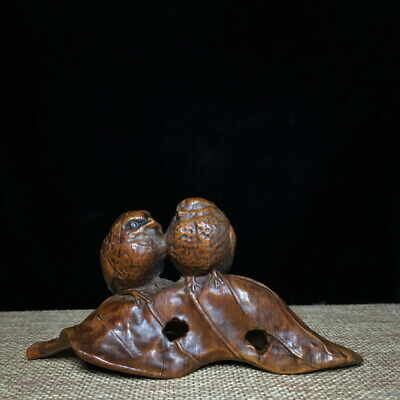 Collection Handicraft Boxwood Carved Two Lovely Birds & Leaves Auspicious Statue