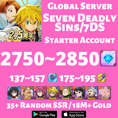 [JP] [INSTANT] 810+ Gems 50+ SSR Tickets | Seven Deadly Sins Grand Cross Account