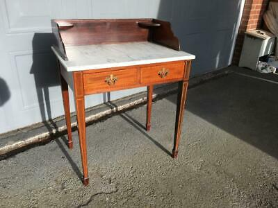 Edwardian Inlaid Mahogany 2 Drawer Marble Topped Table c1910