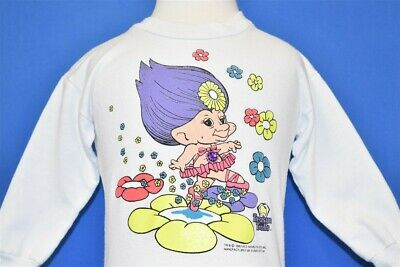 vintage 90s TREASURE TROLLS FLOWERS GLITTER JEWEL LS WHITE SWEATSHIRT TODDLER 2T
