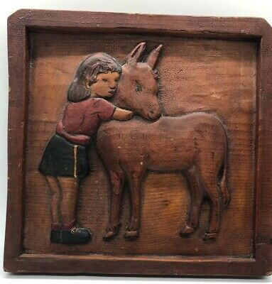 Old Carved Wood Girl And Pony FolK Art Americana Wooden American Antique Plaque