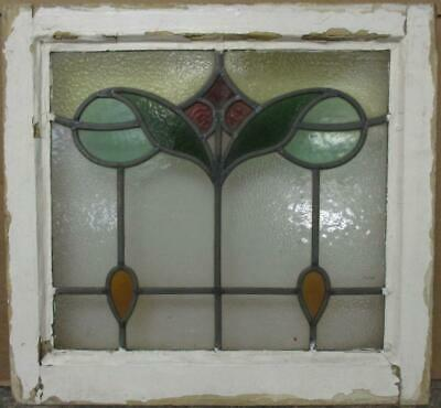 """OLD ENGLISH LEADED STAINED GLASS WINDOW Pretty Abstract Drops 19.25"""" x 18"""""""