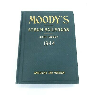 John Moody's Steam Railroads ~ Investor Securities~1944 American & Foreign W Map