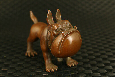 rare chinese old red bronze  hand casting bulldog statue collectable ornament