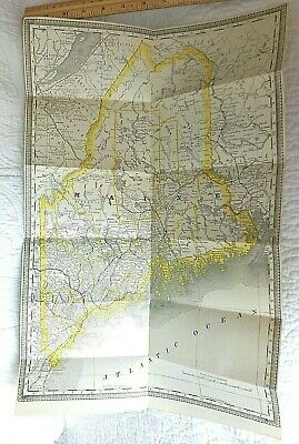 1888 Vintage Rand McNally State of MAINE Business Atlas folded MAP 13 X 19 in.