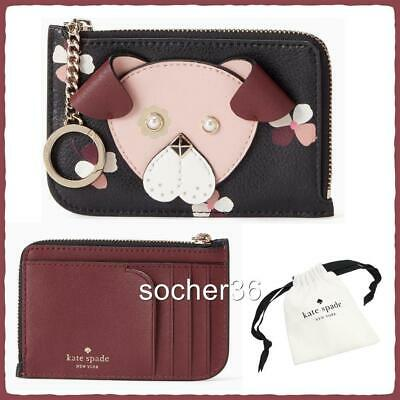 Kate Spade Floral Pup Medium  L-Zip Card Holder Keychain W/Gift Pouch Nwt $99