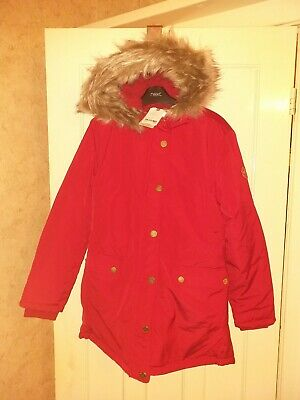 BNWT Girls Next Red Thick Padded Winter Jacket Coat Age 16 Years New