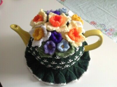 HAND KNITTED TEA COSY - Spring Flowers - Bottle Green