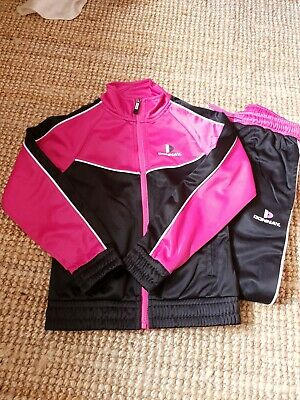 Girls Donnay Two Piece Tracksuit Jacket And Trousers Pink And Black Sz 7-8 Yrs