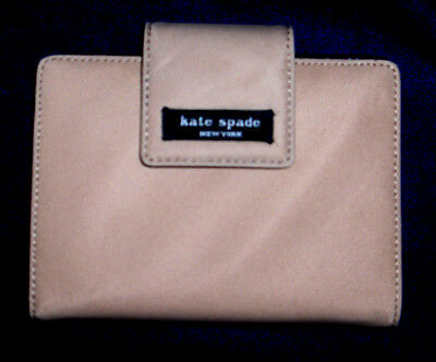 Kate Spade Tan Nylon Black Leather Wallet Organizer Address Book Checkbook Euc