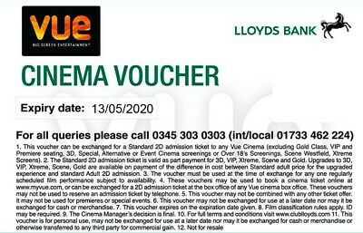 5 Vue Cinema Vouchers valid until May 2020 in cinema and online