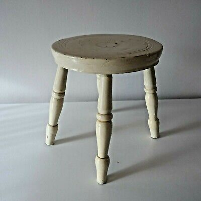 Antique original 19th Century painted Welsh Milking Stool. Rustic farmhouse.