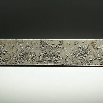 Collect Old Miao Silver Hand-Carved Fish & Bloomy Lotus Luck Paperweight Statue