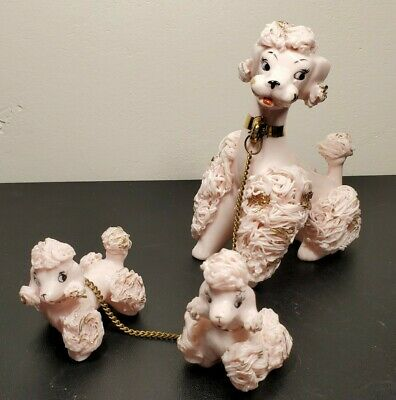 Vintage Pink & Gold Spaghetti Poodle Mom with 2 Babies-- Great Condition